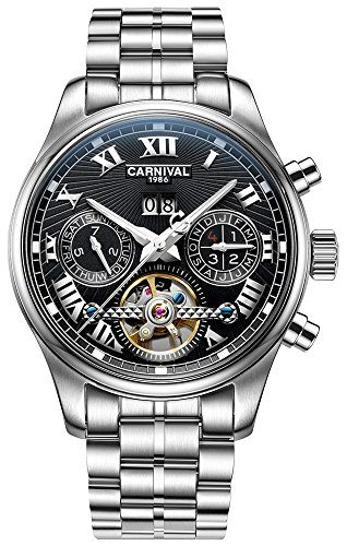 Carnival Retro Roman Applique Complications Calendar Analog Automatic Mechanical Movement Watches for Men
