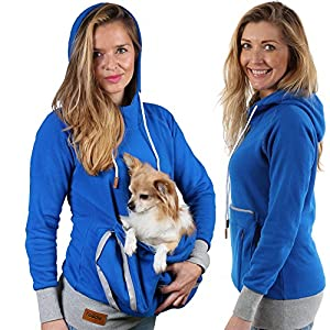 Roodie Pet Pouch Hoodie - Small Cat Dog Carrier Holder Sweatshirt - Womens Fit Kangaroo Pullover Without Ears and Paws - Blue with Gray Trim - Medium