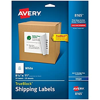 "Avery Shipping Labels with TrueBlock Technology for Inkjet Printers 8-1/2"" x 11"", Pack of 25 (8165)"