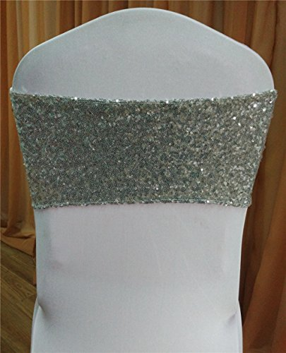 50pcs silver sequins back chair band with white plain lycra (Silver Sequin Band)