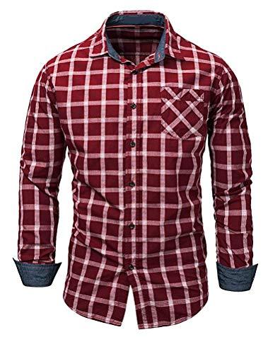 Abotonadas Tamaño Slim Negocios color Oscuro Traje Fit De Rojo Cuadros Hombre Larga Camisa Con Para Camisas A Manga Qiusa Small Azul OUq5xFw65