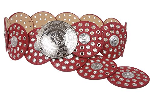 Silver Link Concho Belt (Women's 3 1/2 (90 mm) Wide Boho Disc Concho Leather Link Belt)