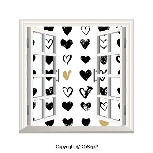 SCOXIXI Removable Wall Sticker,Small Heart Icons Let Me Love You Stylized Hipsters Liking Spouse Couples Art Design,Window Sticker Can Decorate A Room(26.65x20 inch) ()