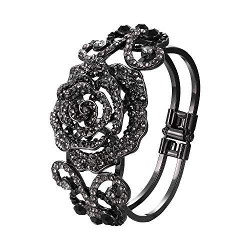 (EVER FAITH Black-Tone Insect Butterfly Rose Bracelet Black Austrian Crystal)