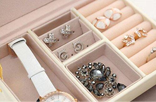 -[ Asvert Jewelry Box Three-Layer Leather Storage Organizer With Mirror Drawer And Lock For Ladies