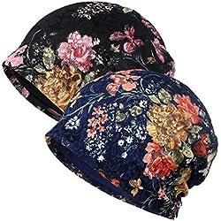 Ganves Women's Sleep Soft Headwear Cotton Lace Beanie Hat Hair Covers Night Sleep Cap (Color mix7&8)