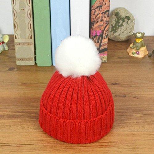 Sombrero de bebé,Tongshi Niño niña de punto sombrero suave encantadora de los Rojo