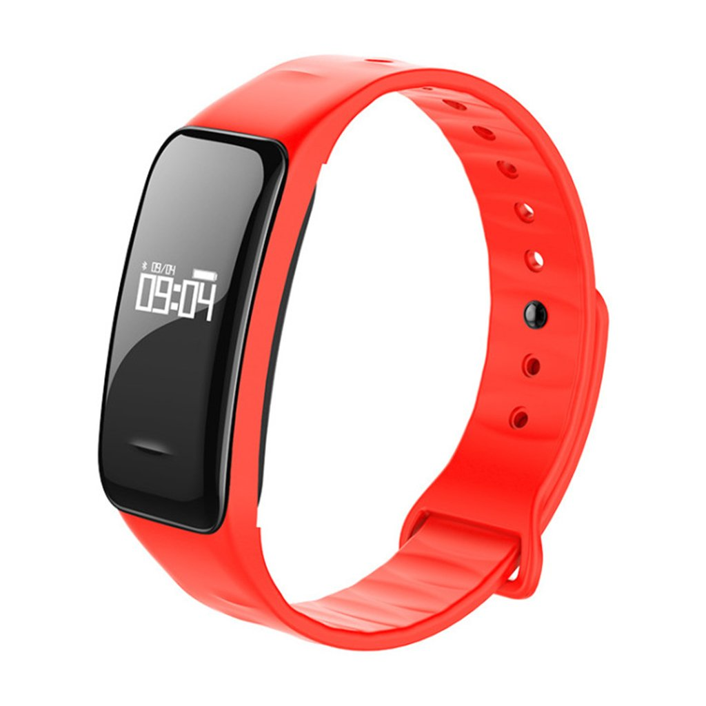HDWY Smart Bracelet With Step Counter Calorie Sleep Monitor Distance Sport Watch Walking Running App For Woman And Man (Color : Red)