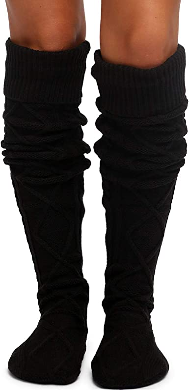 Thigh High Cable Knit Boot Socks at