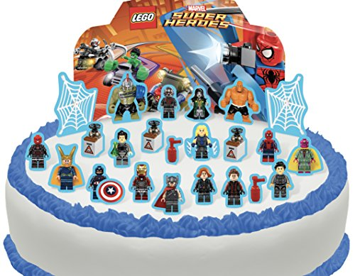 Cakeshop PRE-CUT Lego Marvel Superhero's Edible Cake Scene - 25 pieces Marvel Heroes Scene