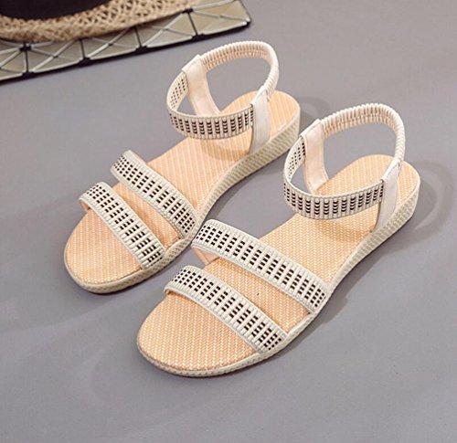 Yiiquan Mujeres Plana de Sandalias Peep Toe Bohemia Ocio Zapatos Venda Elástica Beige