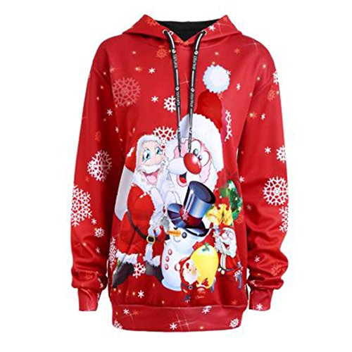 093110a57a55d Hoodies de Noël, femmes Santa Claus Snowman Drawstring Sweatshirt Pulls  85%OFF