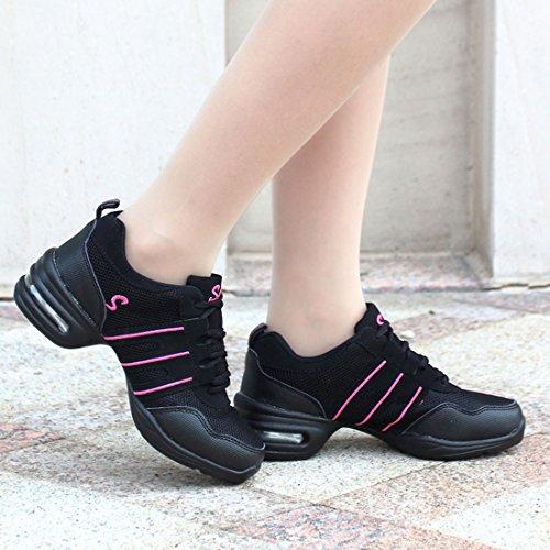 Training Gymnastik Schuhe Tanzschuhe Tanzsneaker Tanz Websneaker Dancesneaker Turnschuh Rosa jazzdance YIBLBOX Sport Damen wXq4xwOR
