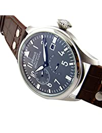 WhatsWatch 47mm Parnis Watch Big Pilot Black Dial Watch Power Reserve Chronometer Seagull 2530 Automatic Mens Watch PA-050
