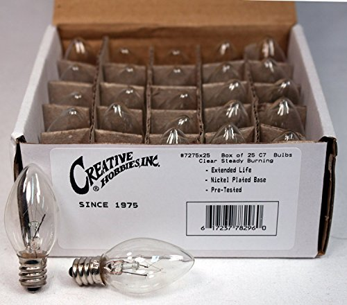 Creative Hobbies 3228x25 (25 Pack) - 7C7/CL, 7 Watt, C7 Night Light, Longer Life 130 Volt, Clear, E12 Candelabra Base, c7 Replacement Bulbs, Incandescent Light Bulb, 25 Pack