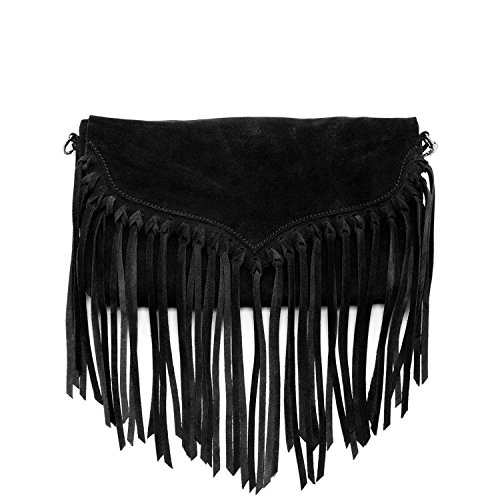 Fringe Purse Crossbody Bags for Women Black Suede Leather Purses and Handbags Boho Western Cross body Small Designer Hand bags with Tassels Hippy Style Ladies Cross over Bag Womens across body hand