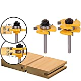 2Pcs Tongue and Groove Router Bit Set, FOREVERHOPE Wood Door Flooring 3 Teeth Adjustable,1/4'' Shank T Shape Wood Milling Cutter Woodworking Tool (2pcs-Shank 1/4'' Dia.1-3/8'')
