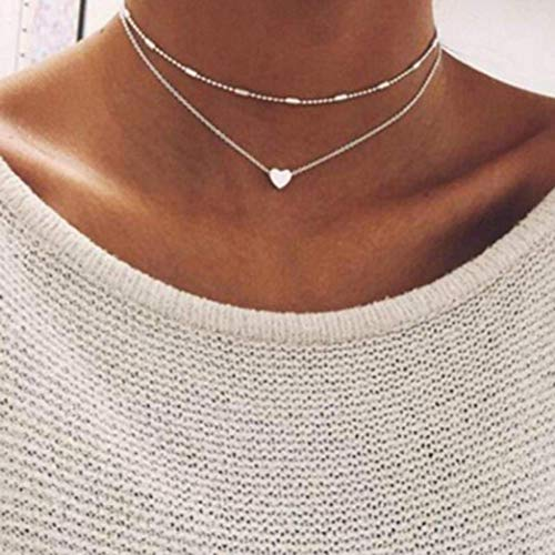Party Necklaces,Hemlock Fashion Women Multilayer Love Heart Pendant Necklace Chain Jewelry (Gold) (Silver, A)