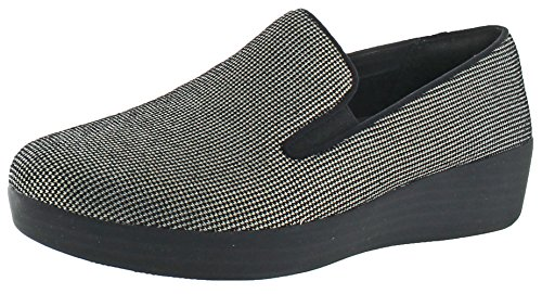 FitFlop Womens SuperSkateÖ Houndstooth Print Suede Loafers Black/Black Stack Slip-On - (Black Houndstooth Print)