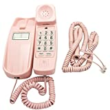 iSoHo, Trimline Corded Phone - Phones For Seniors - Phone for hearing impaired - Ladies Pink - Retro Novelty Telephone W/ BONUS Matching 25' FOOT HANDSET CORD - Style Big Button Phones
