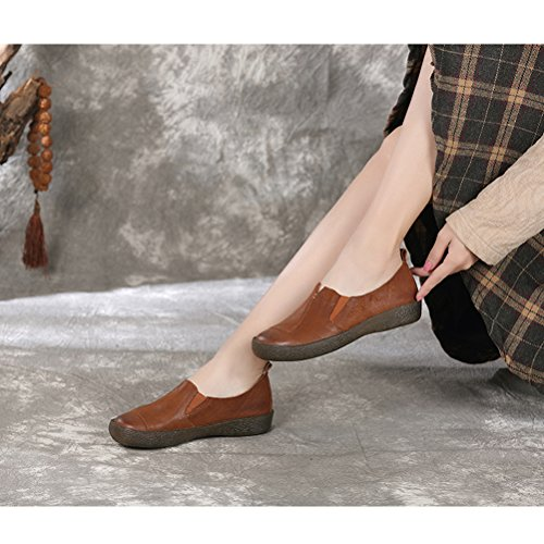 Mordenmiss Womens Cowhide Loafers Slip-On Flat Shoes Brown yXvvty