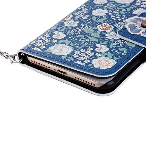 YHUISEN Lujo elegante flores PU cuero Handbang Flip Cartera con la perla de borla Rhinestone Wristlet Correa de imán de cierre de la caja protectora para IPhone 6 Plus / 6S Plus ( PATTERN : 1 ) 3