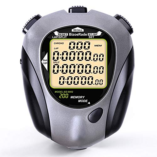 BizoeRade Digital Stopwatch Timer, 200 Lap Memory, Turn Off Function, Large Display, Backlight, Countdown, Metronome, Perfect for Coaches, Sports, Training