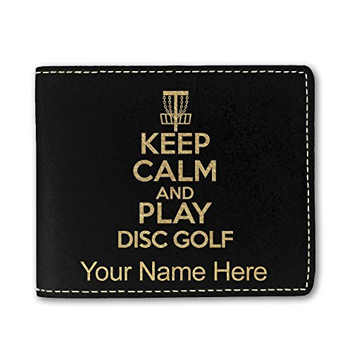 - Faux Leather Wallet, Keep Calm and Play Disc Golf, Personalized Engraving Included (Black)