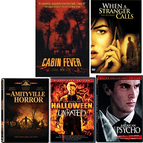 When Evil Hits Home Unleashed 5 Movie Collection Cabin Fever / When A Stranger Calls / American Psycho / Amityville Horror & Halloween Unrated DVD Horror Sequels Pack -