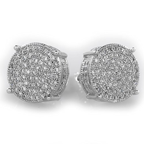 18K Silver ICED OUT Stud Round Earring (Mens Iced Out Bling Earrings)