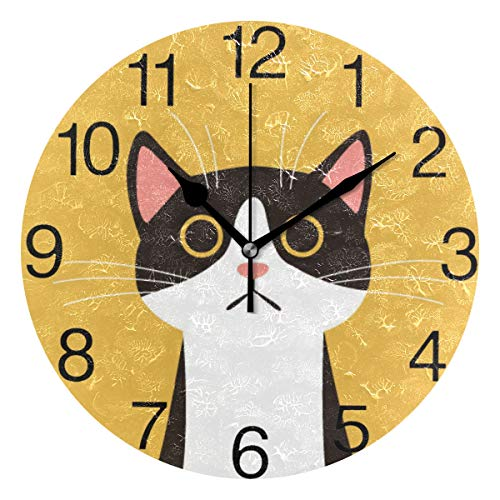 senya Cute Black Cat Face Design Round Wall Clock, Silent Non Ticking Oil Painting Decorative for Home Office School Clock Art
