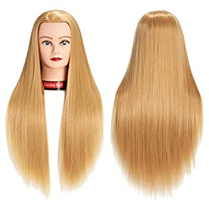 26″-28″ Mannequin Head Hair Styling Training Head Manikin Cosmetology Doll Head Synthetic Fiber Hair Hairdressing Training Model With Free Clamp (Blond)