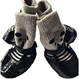 Petsidea Dog Traction Socks with Grippers, Waterproof Non-slip Dog Booties Rain Boot for Puppy Cats (Small, Black)