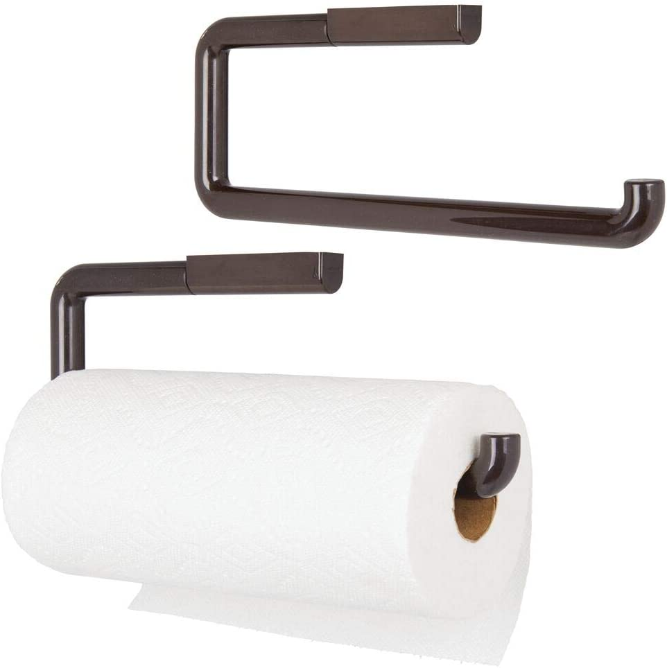 mDesign Plastic Wall Mount Paper Towel Holder & Dispenser, Mounts to Walls or Under Cabinets - for Kitchen, Pantry, Utility Room, Laundry and Garage Storage - Holds Jumbo Rolls - 2 Pack -Bronze