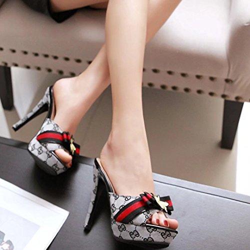 AIYOUMEI Damen High Heels Plateau Pantoletten mit Blumen Stiletto Sandalen Slipper Mules High Heels Grau