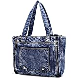 Donalworld Women Casual Denim Shoulder Bag Tote Handbag Pattern1