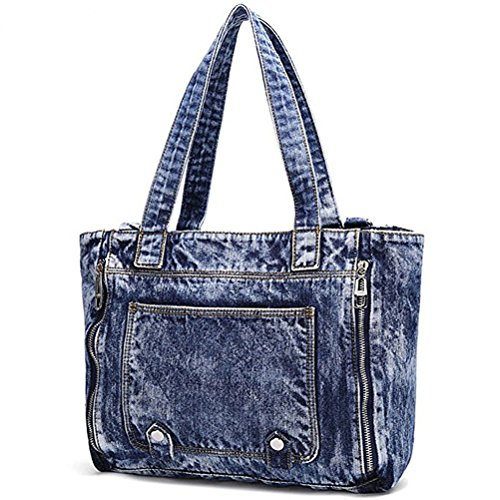 Donalworld Women Casual Denim Shoulder Bag Tote Handbag Blue