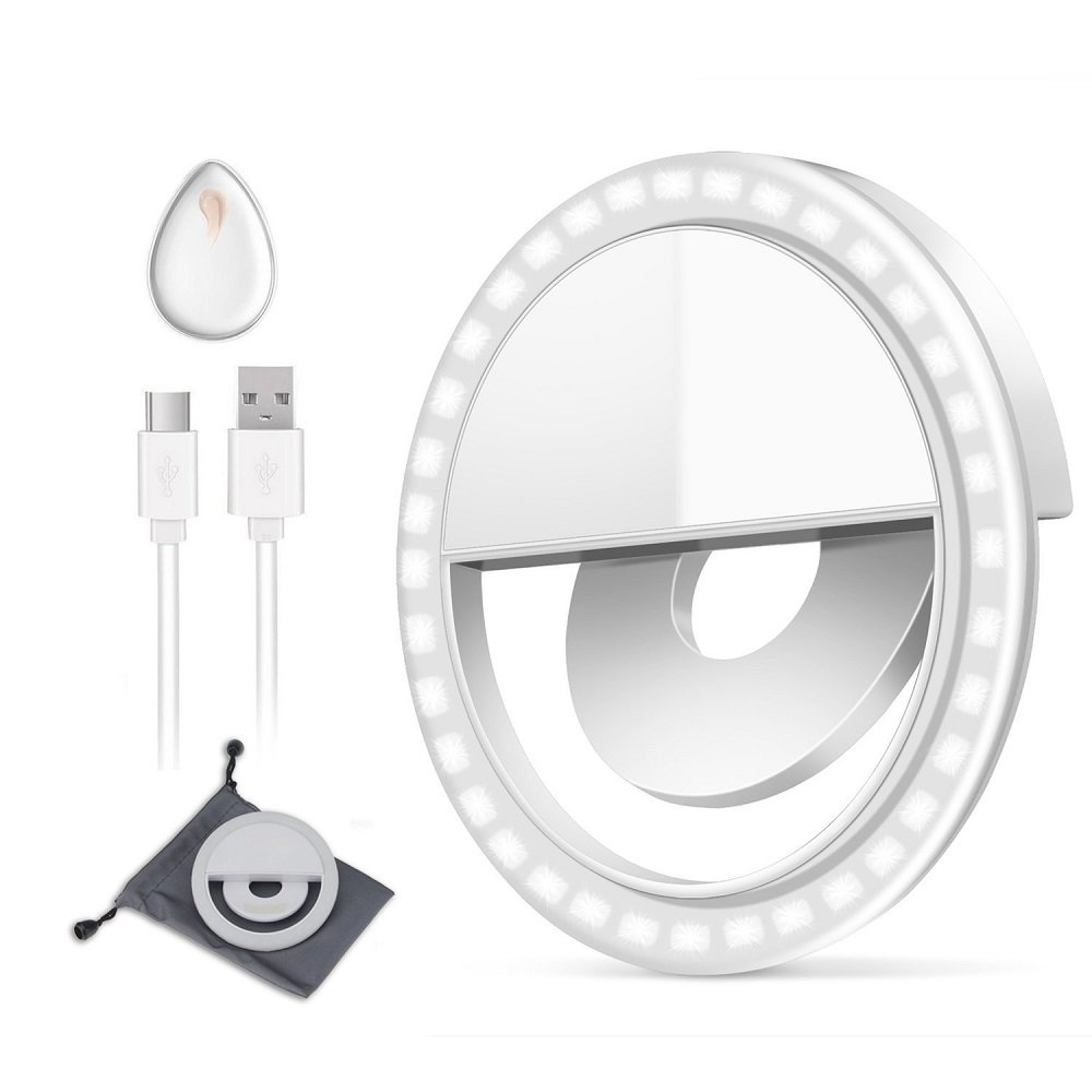 GIM l187 Rechargeable Selfie Ring Light, Super Slim, Selfie Light Ring 3-Level Brightness 36 Led Portable For Phone Camera Photography Video, Clips On Ring Fill Light 3 Level, White