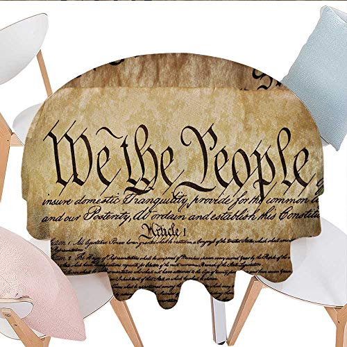 Home-textile-print United States Dinning Tabletop DecorVintage Constitution Text of America National Glory Fourth of July Image Dust-Proof Round Tablecloth D54 Light Brown