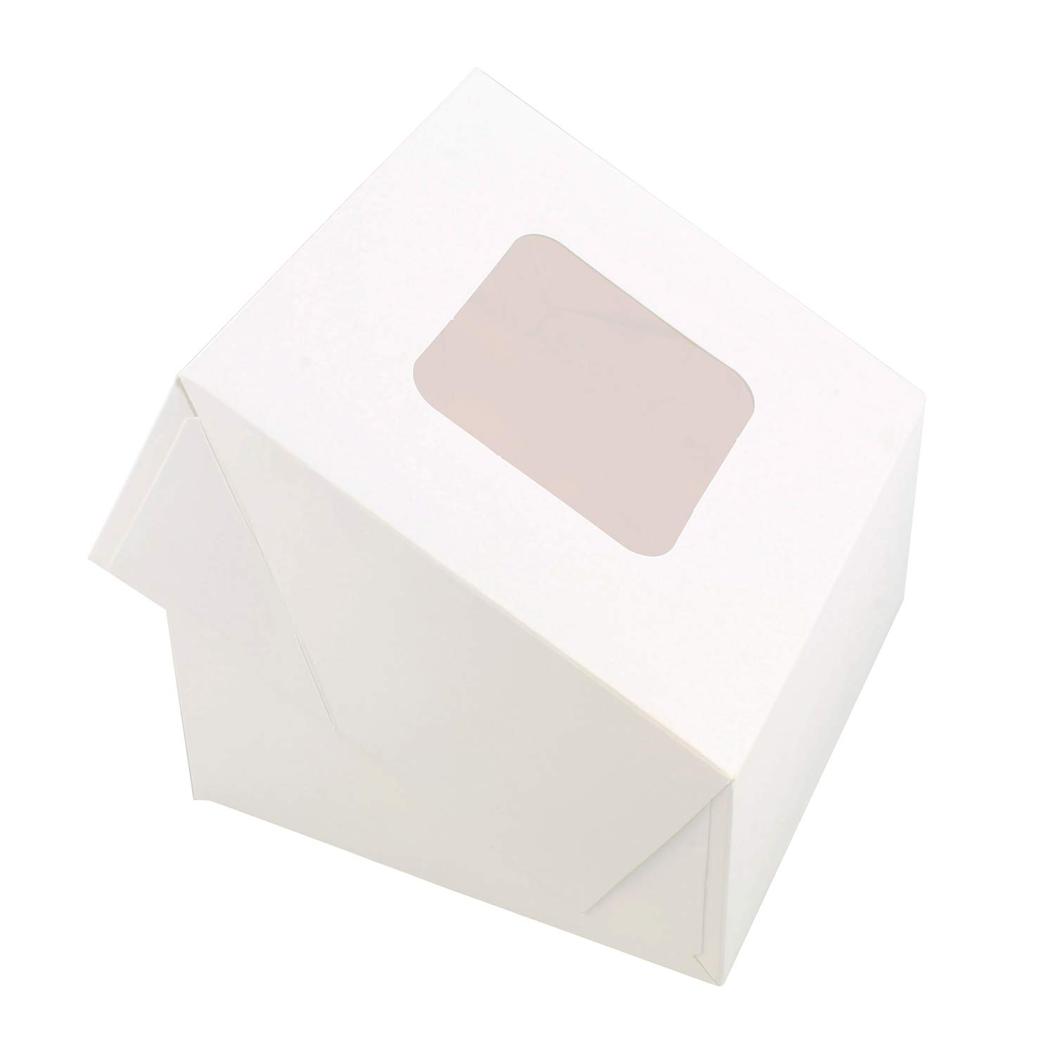 SpecialT White Bakery Boxes with Window, 200pk - 6'' x 6'' Inch Cake Boxes, Party Favor Boxes, Candy Boxes, Dessert Boxes by SpecialT (Image #3)