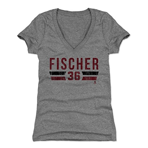 - Christian Fischer Women's V-Neck Shirt Medium Tri Gray - Arizona Hockey Fan Apparel - Christian Fischer Arizona Font R