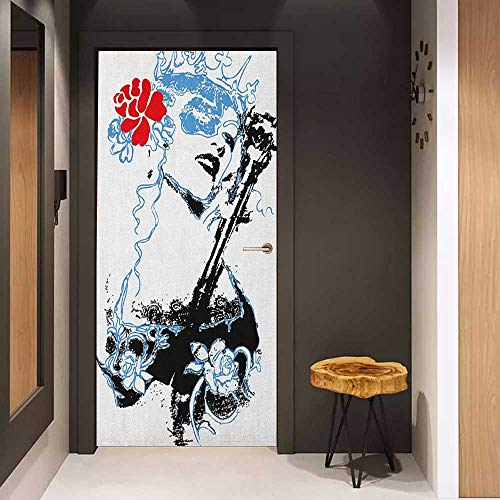 Onefzc Soliciting Sticker for Door Queen Grungy Vintage Woman with Crown and Roses Gothic Art Fancy Fashion Feminine Mural Wallpaper W17.1 x H78.7 Sky Blue Red ()