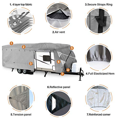 Leader Accessories Travel Trailer RV Cover Fits 27-30 Trailer Camper 3 Layer Size 366 L102 W104 H with Adhesive Repair Patch