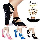 Yoga Pilates Socks Half Toe Grip Non-Slip for Ballet, Yoga, Pilates, Barre Toe Socks (3 Pairs black+blue+red)