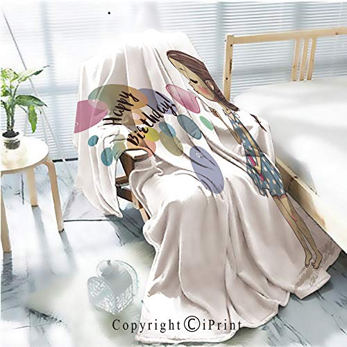 AngelSept Printed Throw Blanket Smooth and Soft Blanket,Cute Girl with Bubbles for Sofa Chair Bed Office Travelling Camping,Kid Baby,W31.5 x H47.2 ()