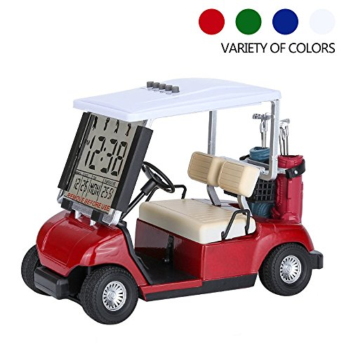 Golf Cart Clock (Mini Golf Cart Clock - MULTIFUNCTION Thermometer, Calendar Date, Timer, Alarm & Snooze - A large LCD Display 12/24-Hour Selection Prefect Race Souvenir Novelty Golf Gifts - M&H (Red))