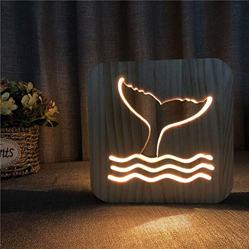 (Creative Wood Lamp, LED Night Light/3D Wood Carving Whale Tail Pattern USB Portative Mood Lamp for Bedroom Living Room Nightstand)