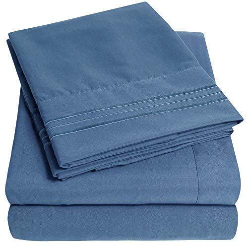 1500 Supreme Collection Extra Soft Queen Sheets Set, Denim – Luxury Bed Sheets Set with Deep Pocket Wrinkle Free Hypoallergenic Bedding, Over 40 Colors, Queen Size, Denim