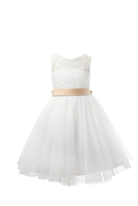 38866fe46a0 Miama Ivory Lace Tulle Keyhole Back Wedding Flower Girl Dress Junior  Bridesmaid Dress larger image