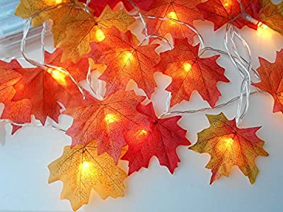 Led String Light,8.2 Feet 20 LED Maples Led Decorations Light Waterproof Led Lighted Fall Garland for Halloween Christmas Party